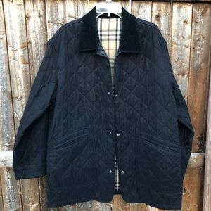 Burberry Black Diamond Quilted Jacket, Size Large